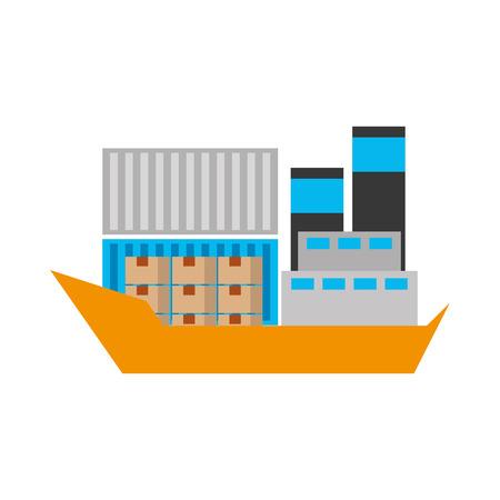 sea transportation logistic freight shipping cargo ship vector illustration Stock Vector - 90305383