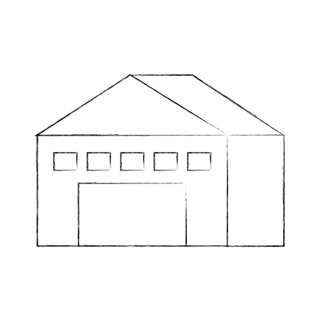 warehouse building exterior commercial empty vector illustration Çizim