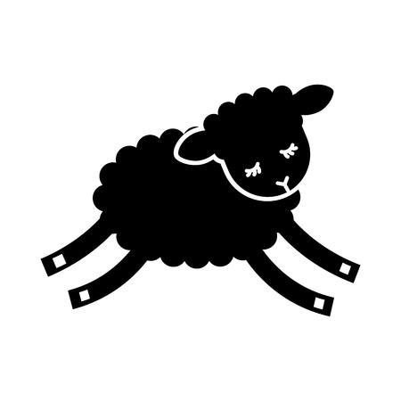 Cute lamb character icon vector illustration design