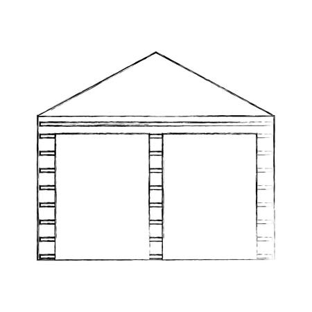 warehouse building exterior commercial empty vector illustration Illusztráció