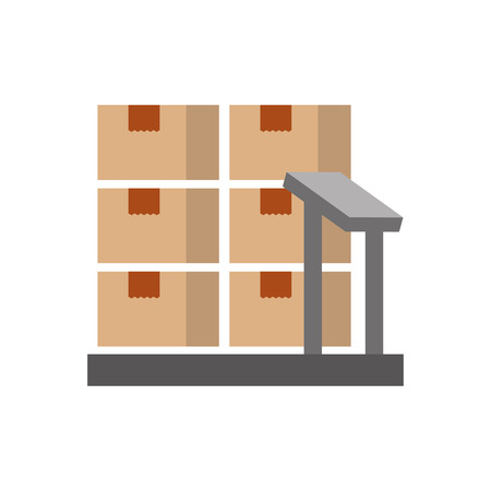cardboard boxes on storage scales logistic icon vector illustration 向量圖像
