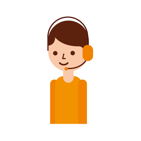 logistic delivery support phone operator in headset icon vector illustration