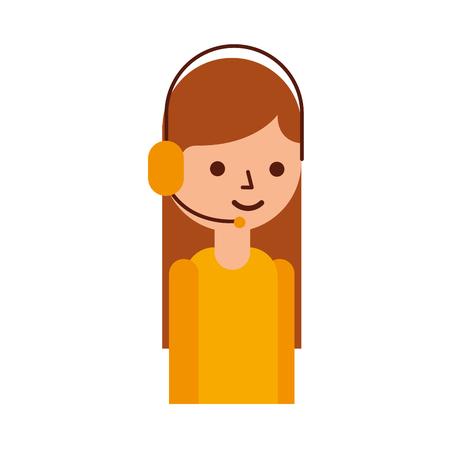 ロジスティック配信はヘッドセットのアイコン ベクトル図で電話オペレーターをサポートします。