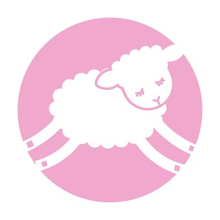 Diseño lindo del ejemplo del vector del icono del carácter del cordero Foto de archivo - 90305521