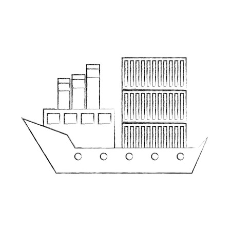 sea transportation logistic freight shipping cargo ship vector illustration Stock Vector - 90305523