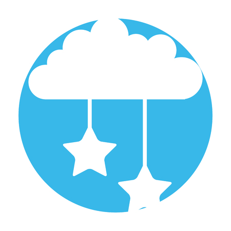 cloud sky with stars vector illustration design