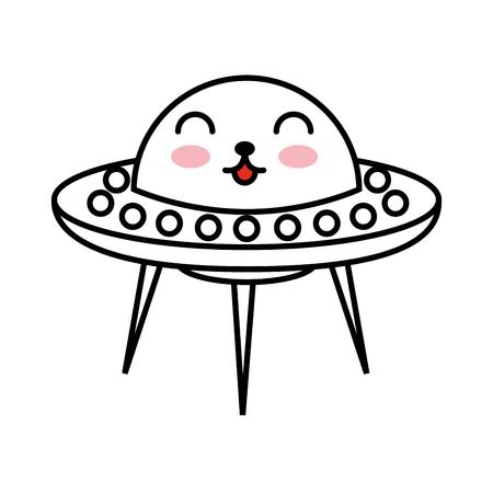 niet-geïdentificeerde vliegende object komische karakter vector illustratie ontwerp