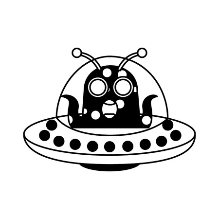 unidentified flying object with alien vector illustration design