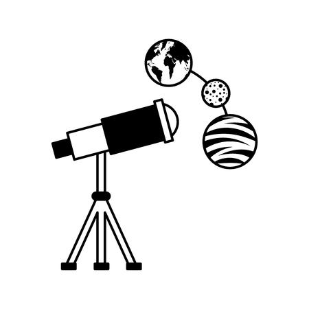 Telescope observing the universe vector illustration design