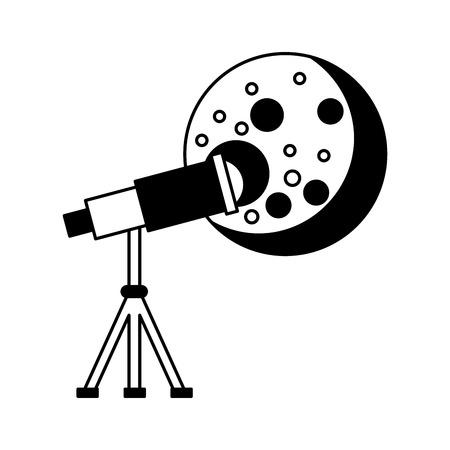 Telescope observing the moon vector illustration design Illustration