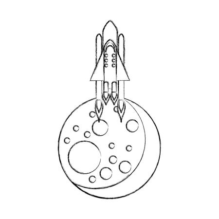 Natural satellite moon with rocket vector illustration design Illustration