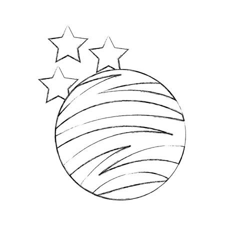 planet mars with stars icon vector illustration design