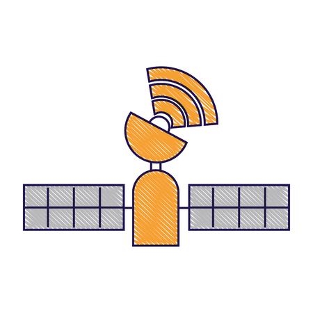 satelliet gps-technologie die draadloze vectorillustratie volgen