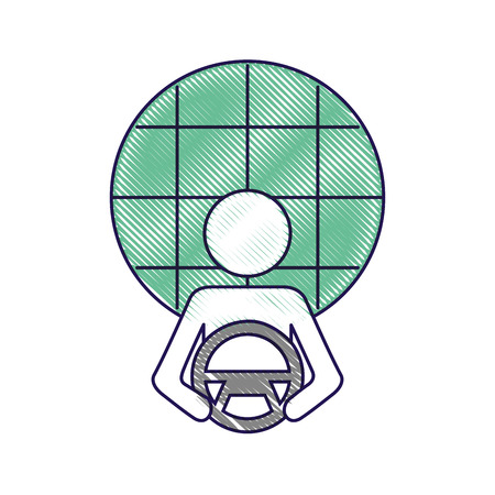 driver at steering wheel autonomous design vector illustration Illustration
