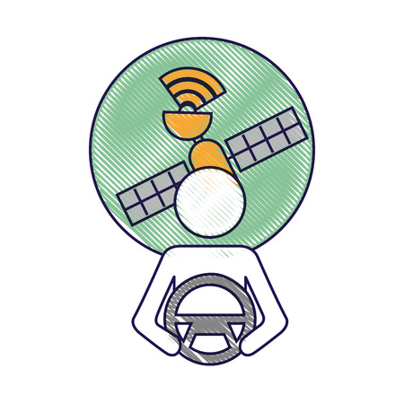 driver at steering wheel autonomous satellite gps vector illustration Stock Vector - 90312512