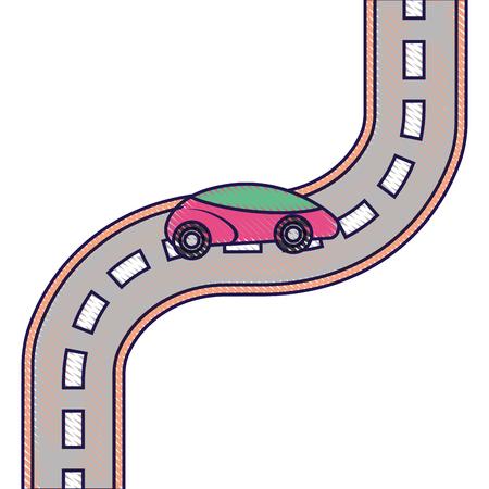 autonomous car smart on the road navigation vector illustration