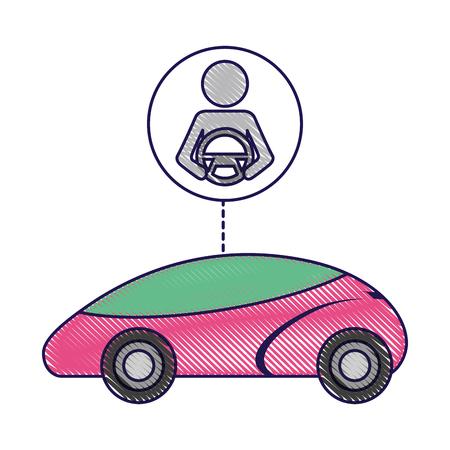 スマートまたは理性的な車ドライバー自治の未来技術のベクトル図  イラスト・ベクター素材