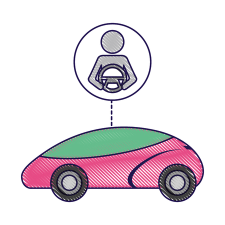 smart or intelligent car driver autonomous futuristic technology vector illustration