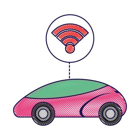 스마트 또는 지능형 자동차 연결 wifi 기술 벡터 일러스트 레이 션
