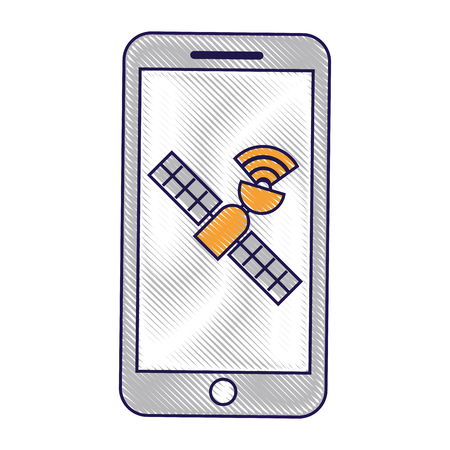 smartphone gps navigation satellite technology vector illustration Banco de Imagens - 90312354