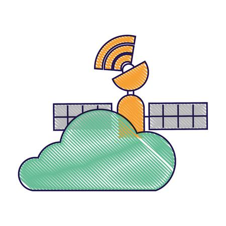 gps navigation cloud satellite connection vector illustration