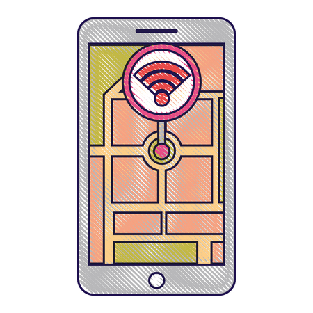 smartphone wireless  internet gps navigation app vector illustration