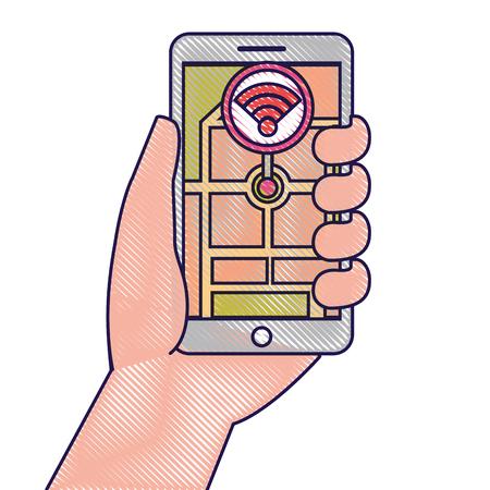 hand holding smartphone gps navigation wifi signal vector illustration