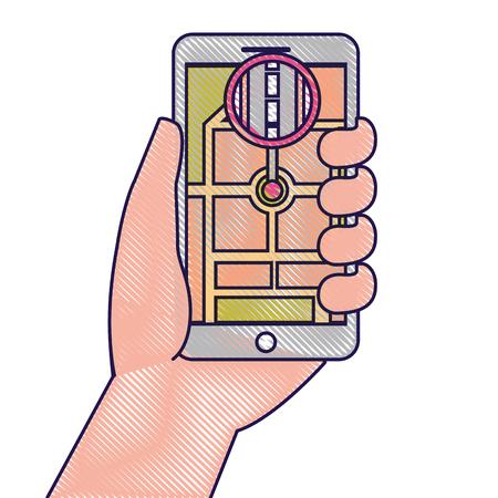 hand holding smartphone gps navigation street vector illustration Illustration