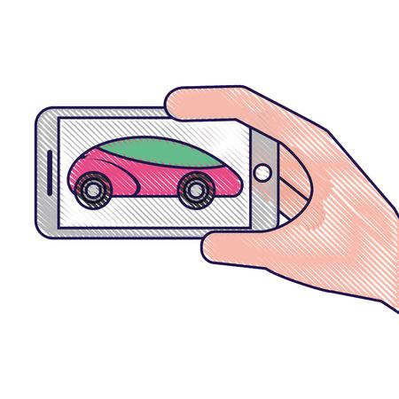 hand holding smartphone gps navigation car vehicle vector illustration Illustration