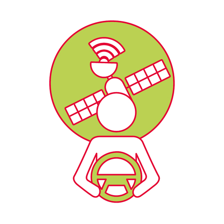 driver at steering wheel autonomous satellite gps vector illustration Stock Vector - 90312369