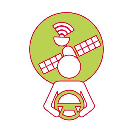 driver at steering wheel autonomous satellite gps vector illustration