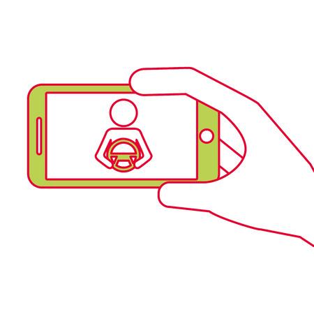 hand holding smartphone gps navigation driver with steering wheel vector illustration Ilustracja