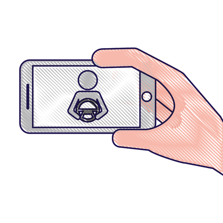 smartphone gps navigation driver at steering wheel vector illustration Иллюстрация