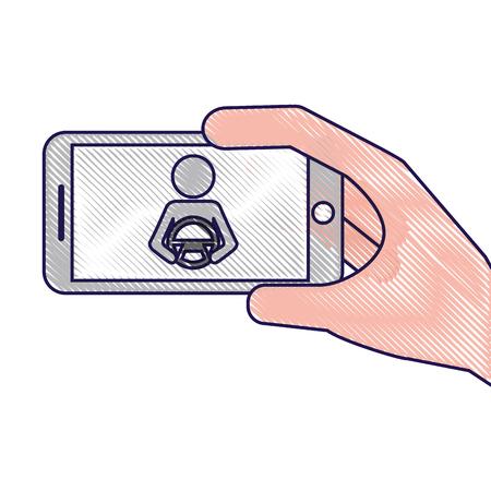 smartphone gps navigation driver at steering wheel vector illustration Ilustracja