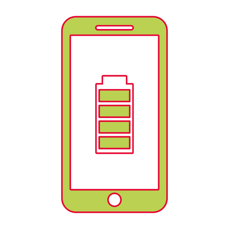 Smartphone battery energy full power app, vector illustration.
