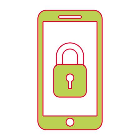 Smartphone-gps navigatie met veiligheidstoegang app, vectorillustratie.