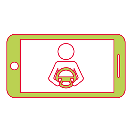 Smartphone gps navigation driver at steering wheel, vector illustration. Illustration