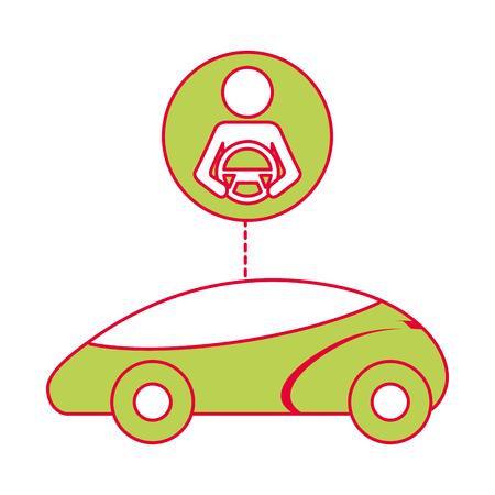 スマートまたは理性的な車ドライバー自治の未来技術のベクトル図 写真素材