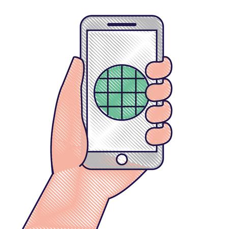 hand holding smartphone gps navigation screen vector illustration