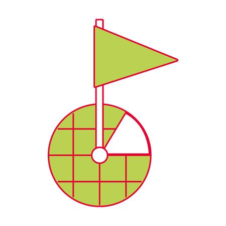 GPS-navigatie scherm aanwijzer kaart vlag marker symbool vectorillustratie