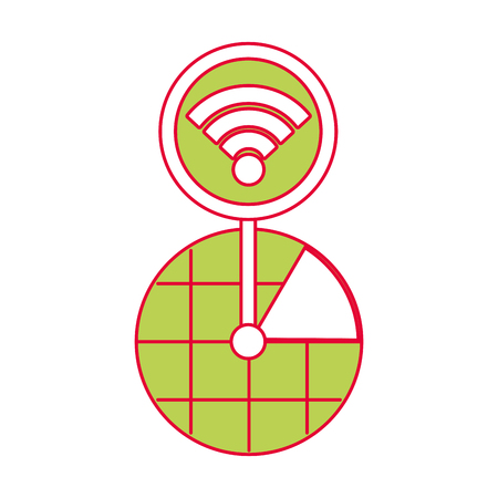 Gps navigation with screen pointer map and wifi connection, vector illustration. Illustration