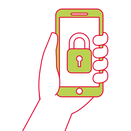 Hand holding smartphone with security access, vector illustration. Illustration