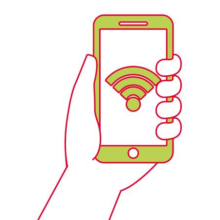 スマート フォンの gps ナビゲーションと wifi 信号、ベクトル図を持っている手。  イラスト・ベクター素材