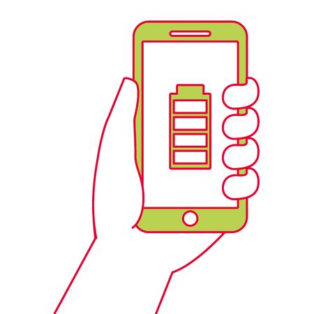手持ち株スマート フォン gps ナビゲーションとエネルギー電池、ベクトル イラスト。