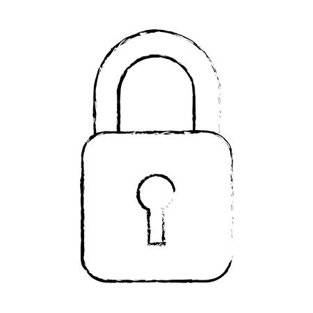 Botão do cadeado da tecnologia da informação de dados da segurança, ilustração do vetor. Foto de archivo - 90308014