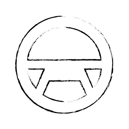 Steering wheel car equipment web button, vector illustration.