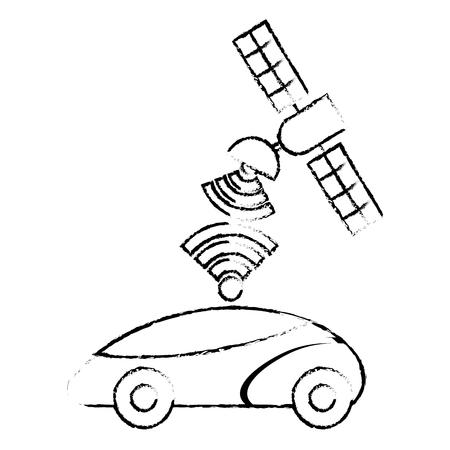 GPS 탐색 위성 도움말 자동차 대상 신호, 벡터 일러스트 레이 션.