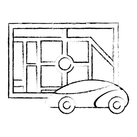 地図ナビゲーションカー自律ウェブアプリケーション、ベクトルイラスト。  イラスト・ベクター素材