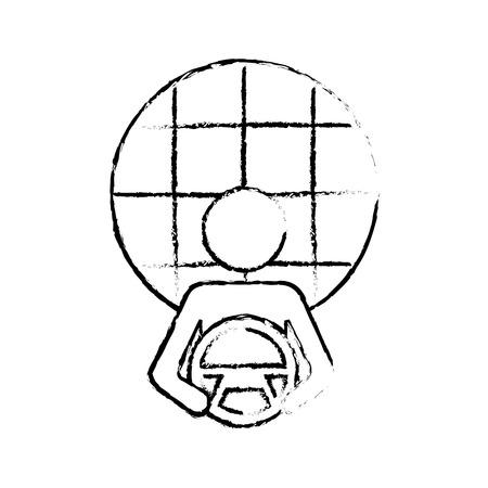 driver at steering wheel autonomous satellite gps vector illustration Stock Vector - 90299892