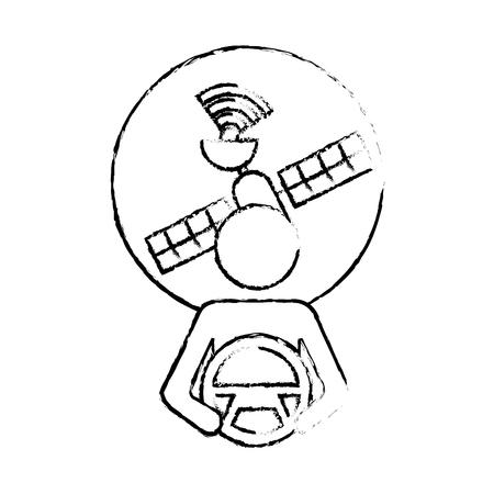 Bestuurder bij stuurwiel met autonome satellietgps, vectorillustratie. Stock Illustratie